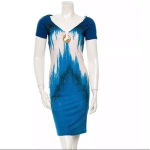 NWT Roberto Cavalli Aqua Dress IT40 US4 MINT!